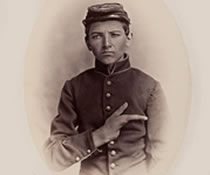 Image of a young boy during the civil war who only has a thumb and his index finger.