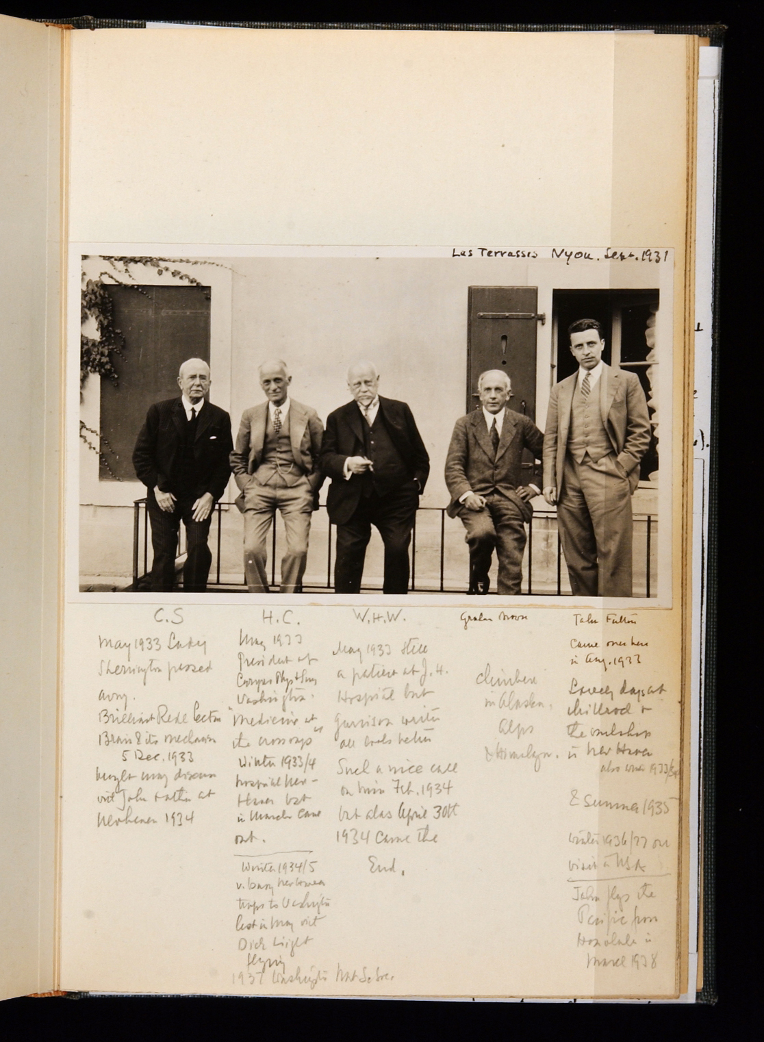 Image of library founders on a journal page with written notes