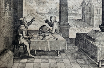 Astrologer in his study casting a horoscope for client, with sun, moon, and stars in the background