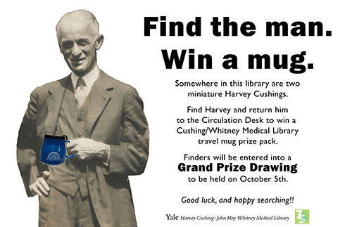 Find Harvey in the library and return him to the Circulation Desk to win a travel mug prize pack.  Finders will be entered into a Grand Prize Drawing to be held on October 5