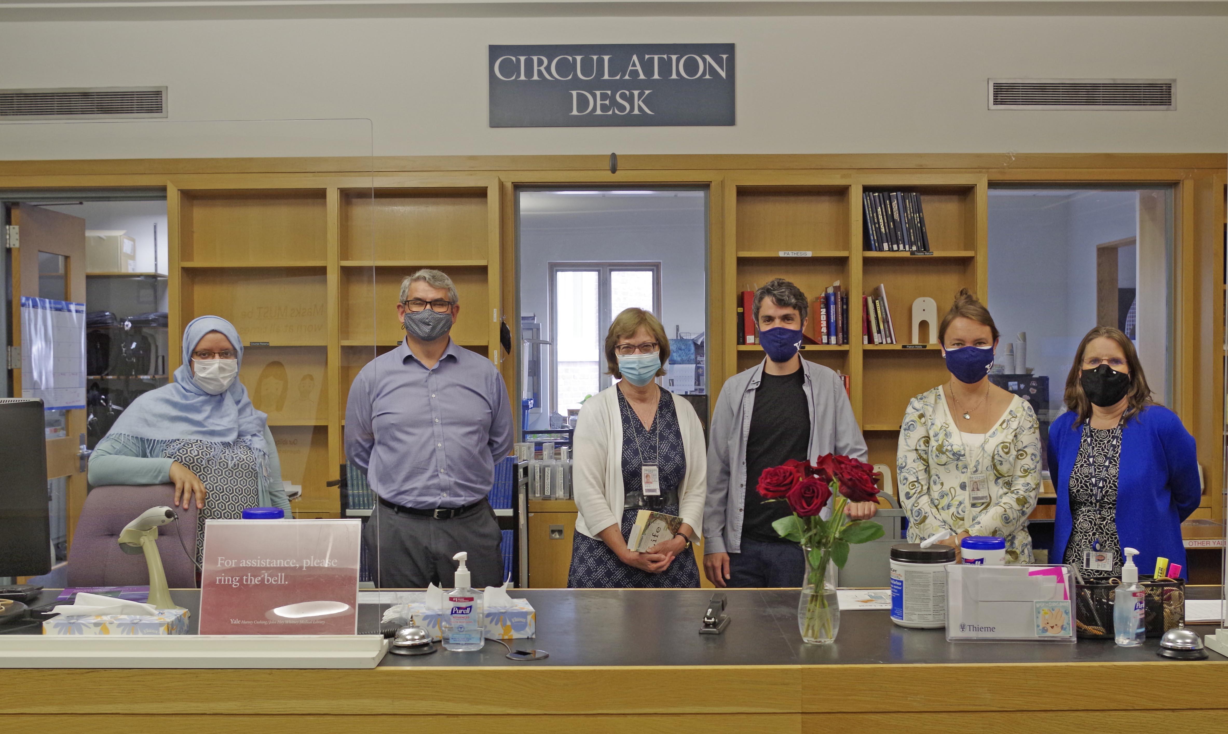 medical library staff at circulation desk