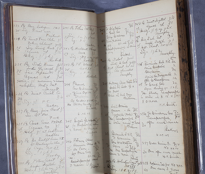 Prescription Logbook, Volume 1, June 3, 1909 -- April 30, 1911, Hall-Benedict Drug Company Logbooks and Ledgers, Ms Coll 66