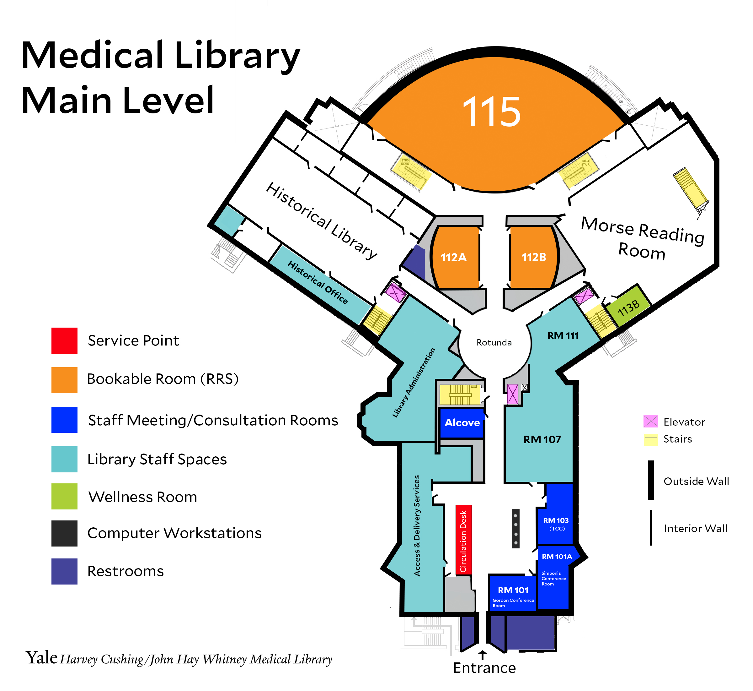 main level of medical library map
