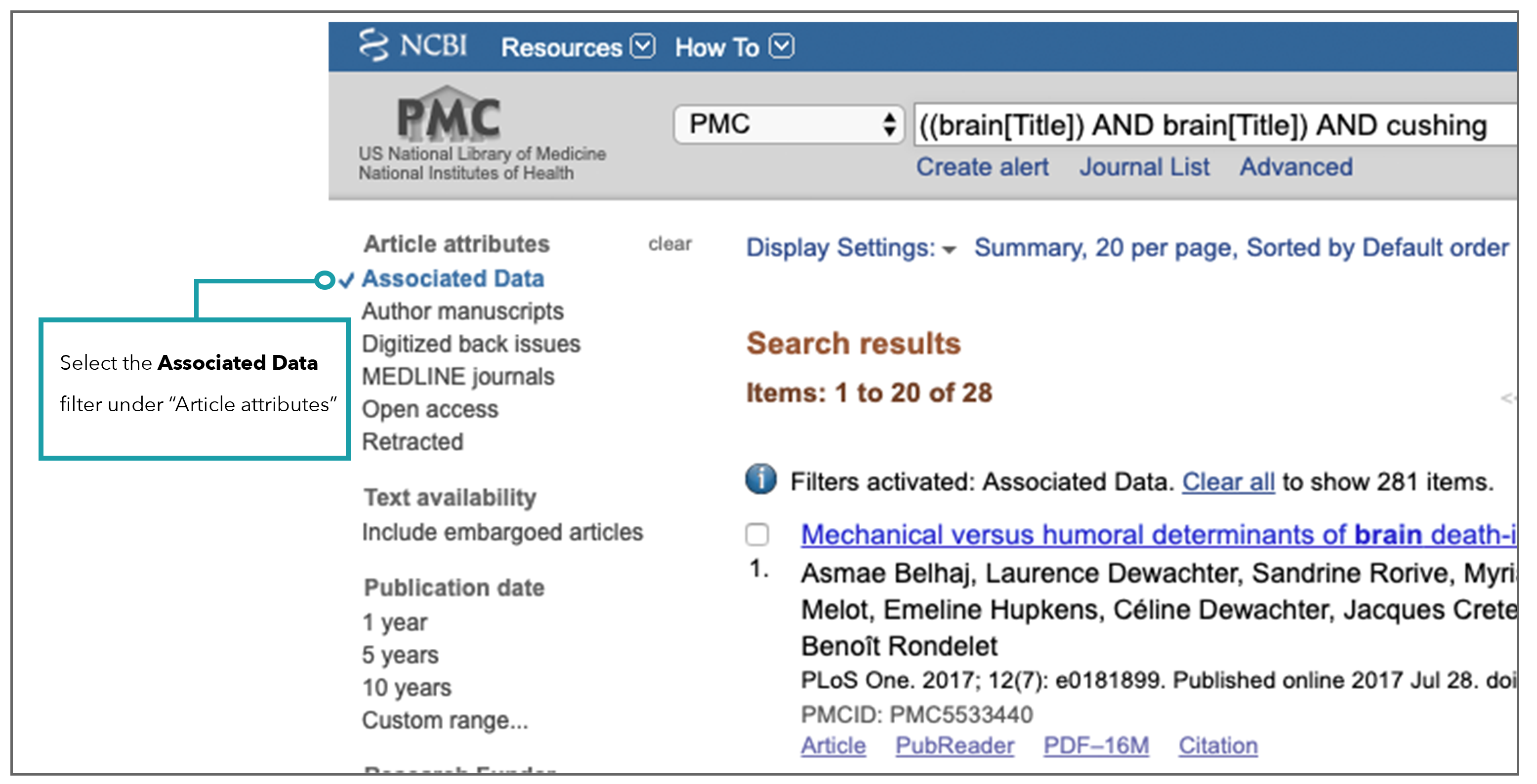 screen shot of associated data selection under article attributes