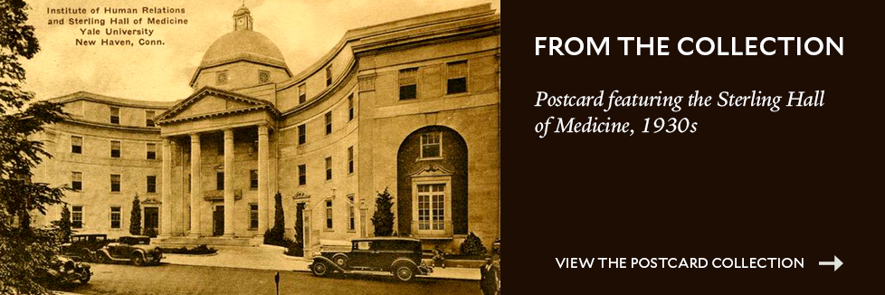 1930s postcard showing the Sterling Hall of Medicine from our collection