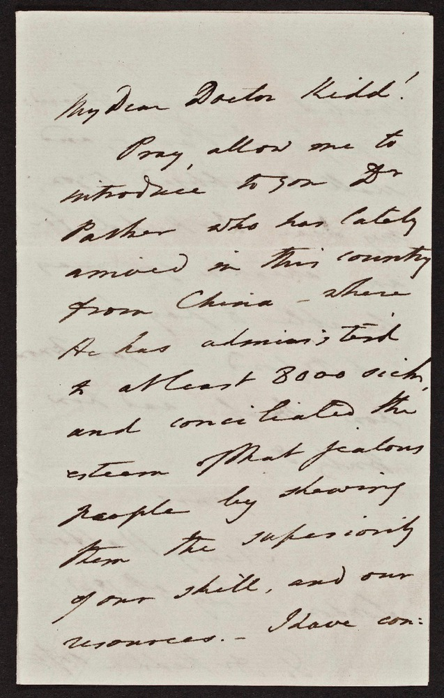 Letter from Sir Henry Halford to Dr. Kidd, Oxford, July 5, 1841, Peter Parker Collection, Ms Coll 6