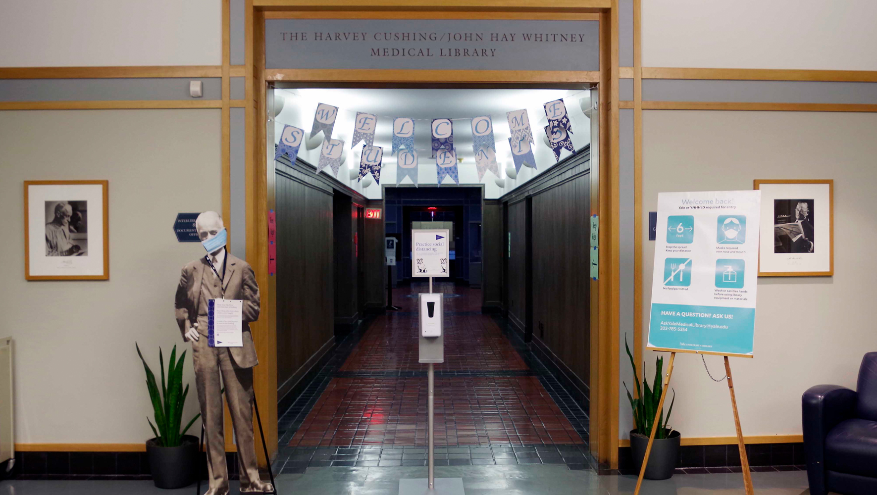 image of the medical library entrance with social distancing protocols