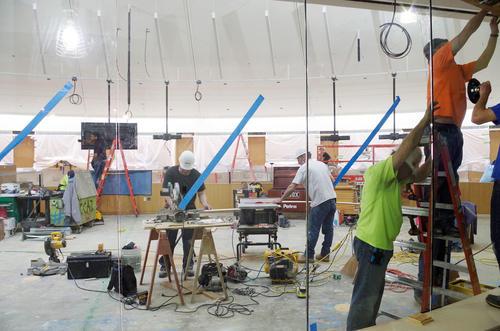 Glass installation in flexible classroom