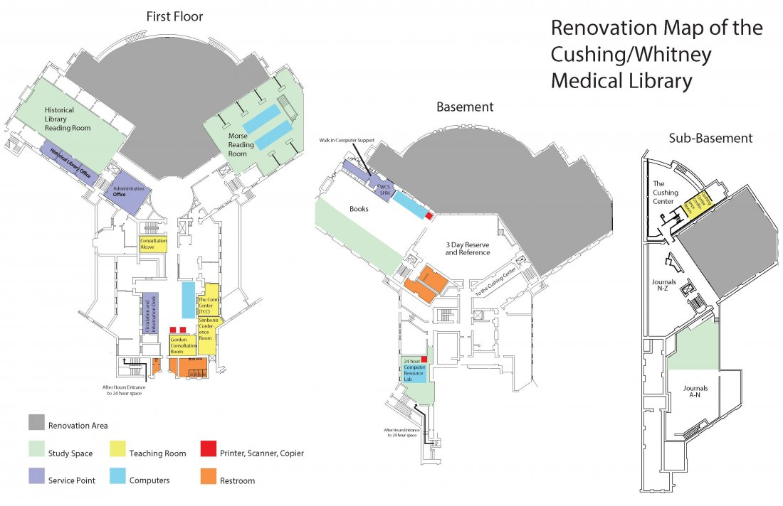 Map of the library during renovations