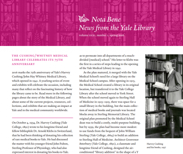 Library profiled in spring 2016 issue of Nota Bene | Harvey Cushing