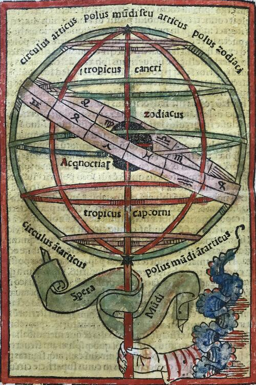 """Hand-colored print of an armillary sphere, labeled """"Spera Mundi."""" It is held by a hand emerging from a cloud."""
