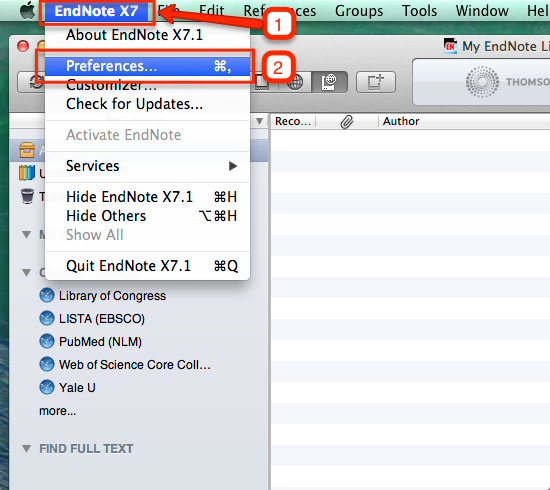 Locating EndNote Preferences in Mac