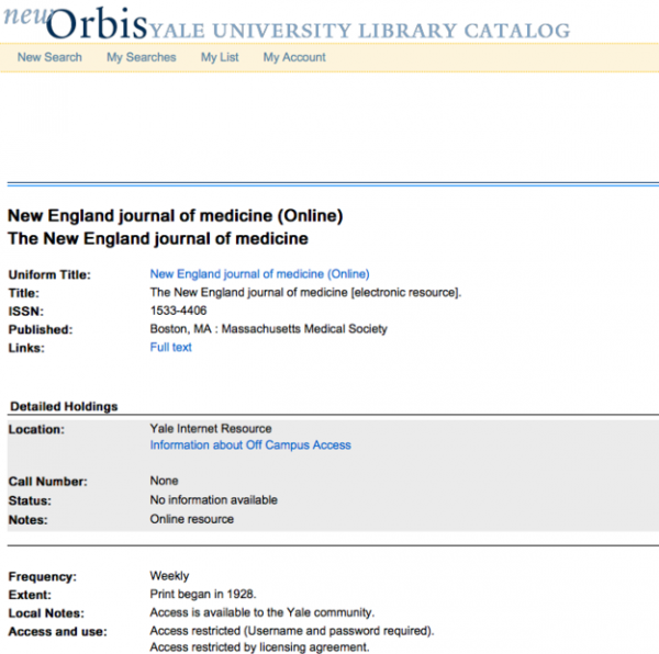 Journal Title Search in Orbis | Harvey Cushing/John Hay Whitney